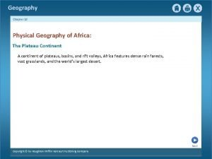 Geography Chapter 18 Physical Geography of Africa The