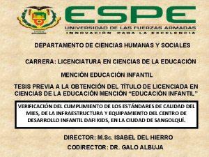 DEPARTAMENTO DE CIENCIAS HUMANAS Y SOCIALES CARRERA LICENCIATURA