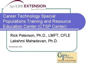 Career Technology Special Populations Training and Resource Education
