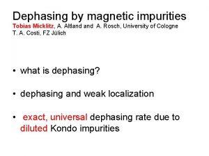 Dephasing by magnetic impurities Tobias Micklitz A Altland