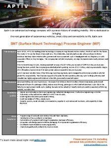 Aptiv is an advanced technology company with a
