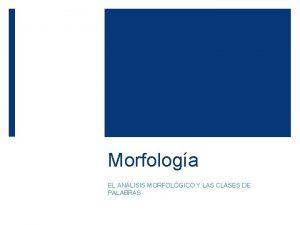 Morfologa EL ANLISIS MORFOLGICO Y LAS CLASES DE