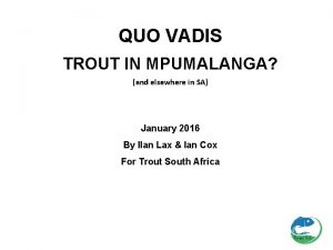QUO VADIS TROUT IN MPUMALANGA and elsewhere in