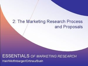 2 The Marketing Research Process and Proposals ESSENTIALS
