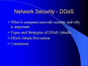 Network Security DDo S l What is computer