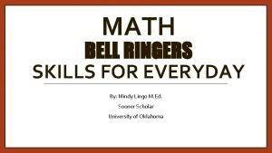 MATH BELL RINGERS SKILLS FOR EVERYDAY By Mindy