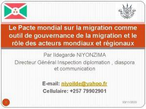Le Pacte mondial sur la migration comme outil