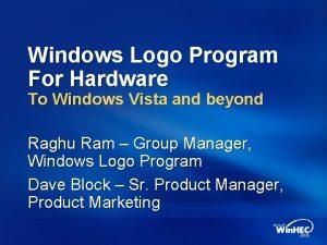 Windows Logo Program For Hardware To Windows Vista