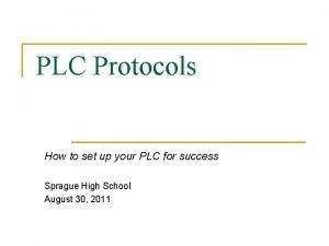 PLC Protocols How to set up your PLC