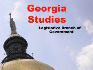 Georgia Studies Legislative Branch of Government Legislative Branch
