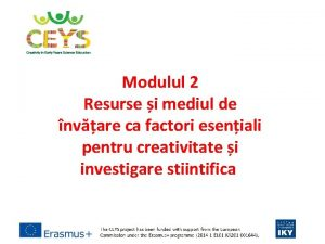 Modulul 2 Resurse i mediul de nvare ca