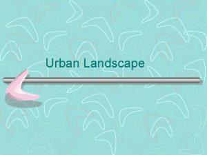 Urban Landscape Contents Urbanization Network of Urban Centres