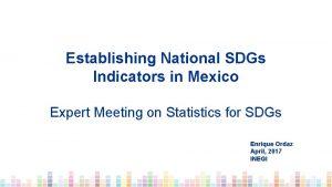 Establishing National SDGs Indicators in Mexico Expert Meeting
