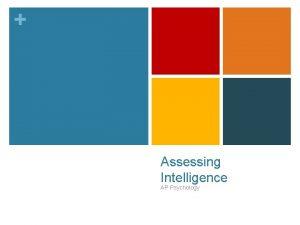 Assessing Intelligence AP Psychology Alfred Binet n Alfred