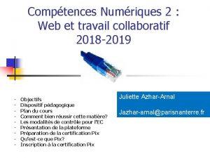 Comptences Numriques 2 Web et travail collaboratif 2018