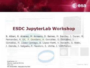 ESDC Jupyter Lab Workshop B Altieri R Alvarez