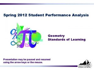 Spring 2012 Student Performance Analysis Geometry Standards of