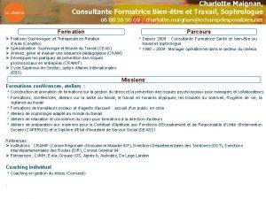 Charlotte Maignan Consultante Formatrice Bientre et Travail Sophrologue