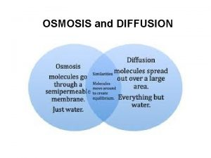 OSMOSIS and DIFFUSION Molecules are always moving Molecules