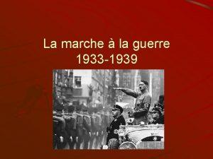 La marche la guerre 1933 1939 La faiblesse