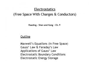 Electrostatics Free Space With Charges Conductors Reading Shen