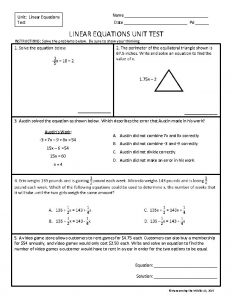 Name Unit Linear Equations Test Date Pd LINEAR