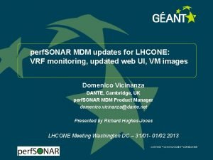 perf SONAR MDM updates for LHCONE VRF monitoring