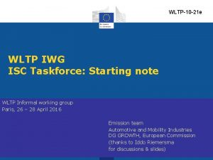 WLTP10 21 e WLTP IWG ISC Taskforce Starting