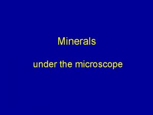 Minerals under the microscope The MINERALS you need
