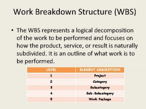 Work Breakdown Structure WBS The WBS represents a