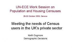 UNECE Work Session on Population and Housing Censuses