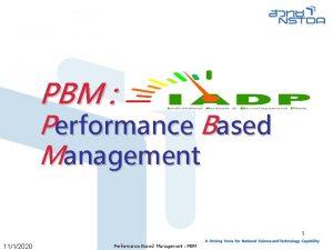 PBM Performance Based Management 1 1112020 Performance Based