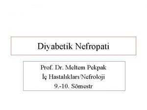 Diyabetik Nefropati Prof Dr Meltem Pekpak HastalklarNefroloji 9