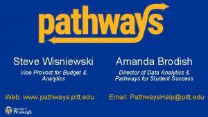 Steve Wisniewski Amanda Brodish Vice Provost for Budget