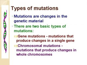 Types of mutations Mutations are changes in the