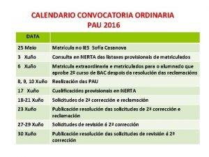CALENDARIO CONVOCATORIA ORDINARIA PAU 2016 DATA 25 Maio