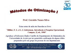 Prof Geraldo Nunes Silva Estas notas de aula