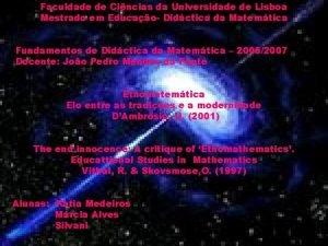 Faculdade de Cincias da Universidade de Lisboa Mestrado