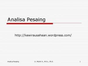 Analisa Pesaing http kewirausahaan wordpress com Analisa Pesaing