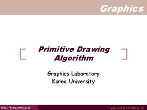 Graphics Primitive Drawing Algorithm Graphics Laboratory Korea University