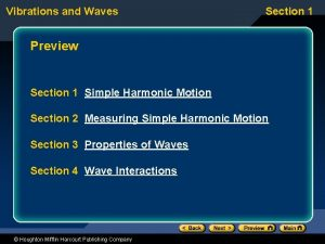 Vibrations and Waves Section 1 Preview Section 1