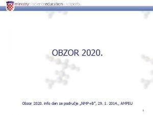 OBZOR 2020 Obzor 2020 info dan za podruje