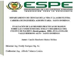 DEPARTAMENTO DE CIENCIAS DE LA VIDA Y LA