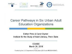 Career Pathways in Six Urban Adult Education Organizations