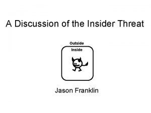 A Discussion of the Insider Threat Outside Inside