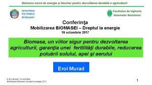 Biomasa surs de energie i biochar pentru dezvoltarea