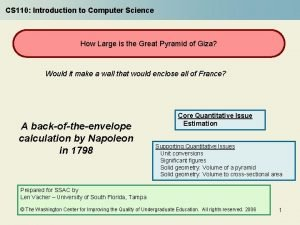 CS 110 Introduction to Computer Science How Large