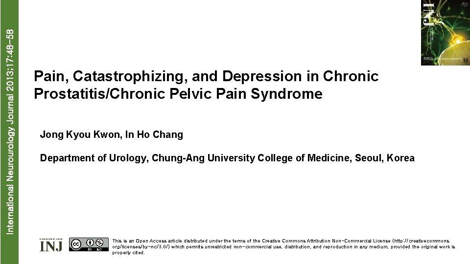 International Neurourology Journal 2013 17 48 58 Pain