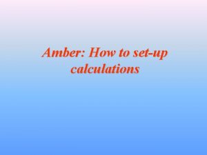 Amber How to setup calculations Preliminary Remarks Amber