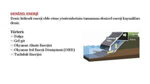 DENZEL ENERJ Deniz kkenli enerji elde etme yntemlerinin